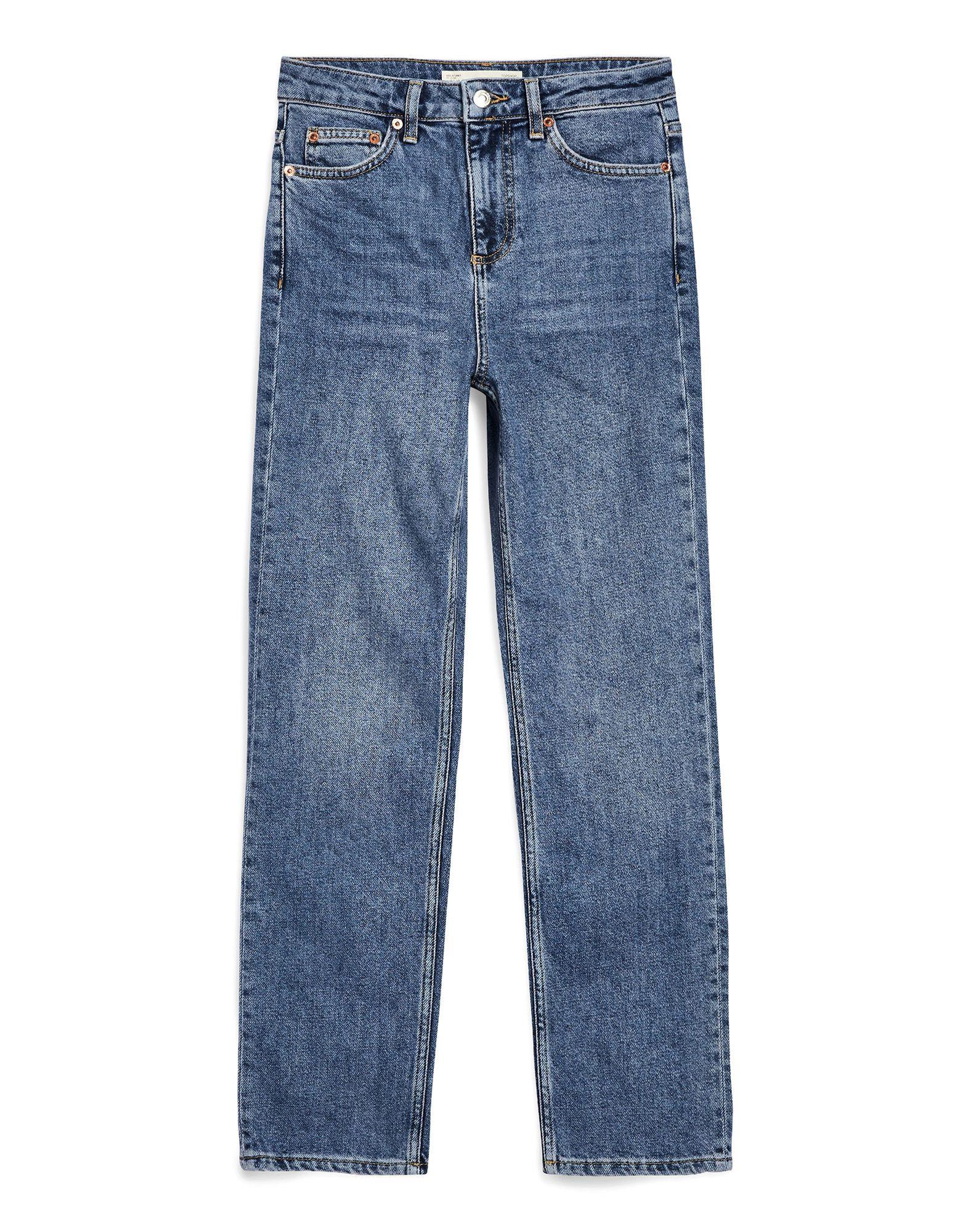 《セール開催中》TOPSHOP レディース デニムカプリパンツ ブルー 25W-30L コットン 99% / ポリウレタン 1% MID BLUE STRAIGHT LEG JEANS