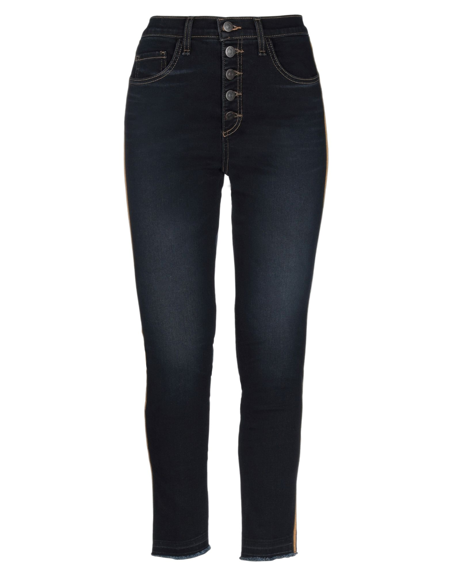 VERONICA BEARD Jeans. denim, side seam stripes, solid color, dark wash, mid rise, belt loops, front closure, button closing, no pockets, fringed hem, faded. 87% Cotton, 11% Polyester, 2% Polyurethane