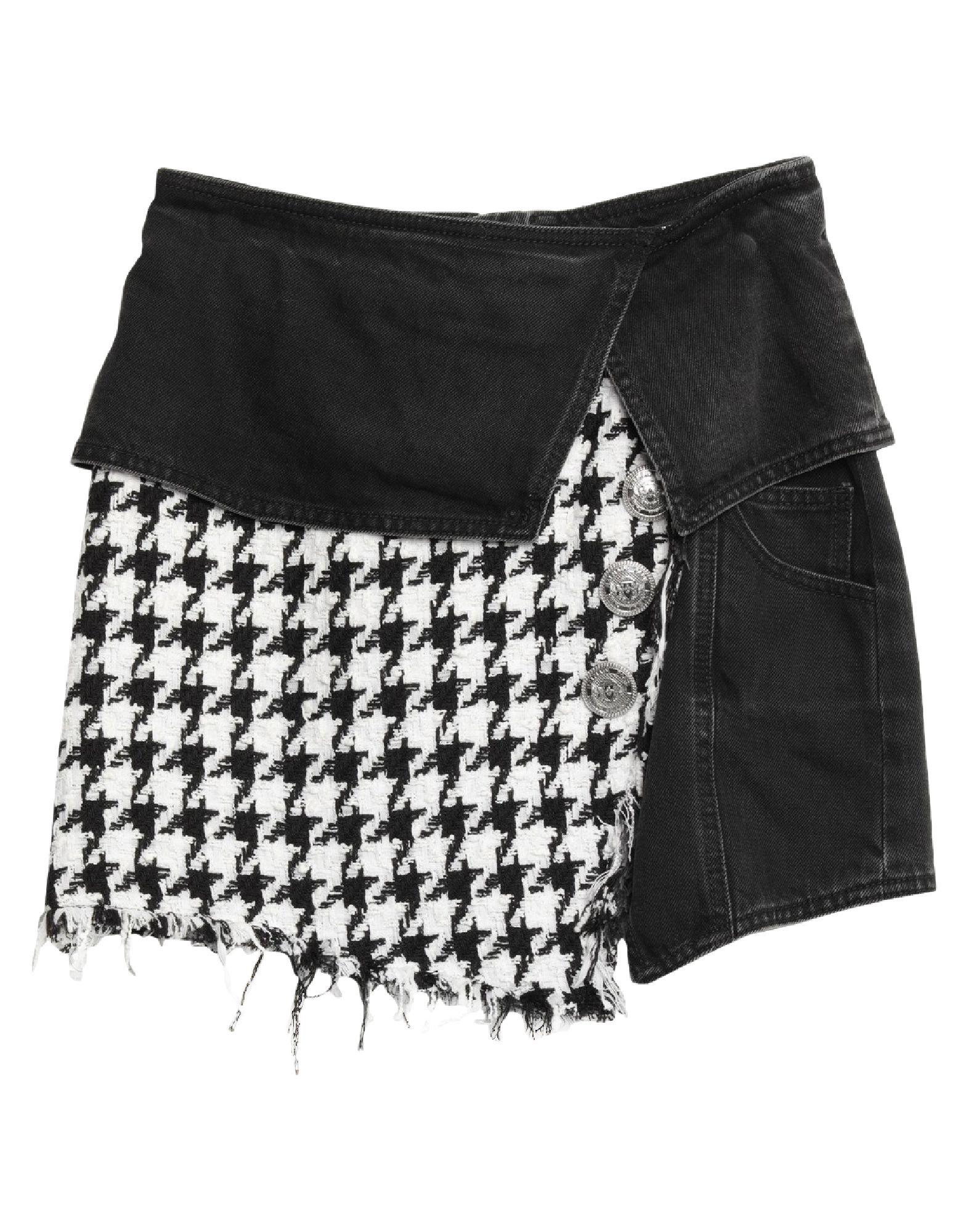 BALMAIN Denim skirts. tweed, denim, faded, metal applications, houndstooth, colored wash, rear closure, zipper closure, multipockets. 100% Cotton, Acrylic, Polyamide