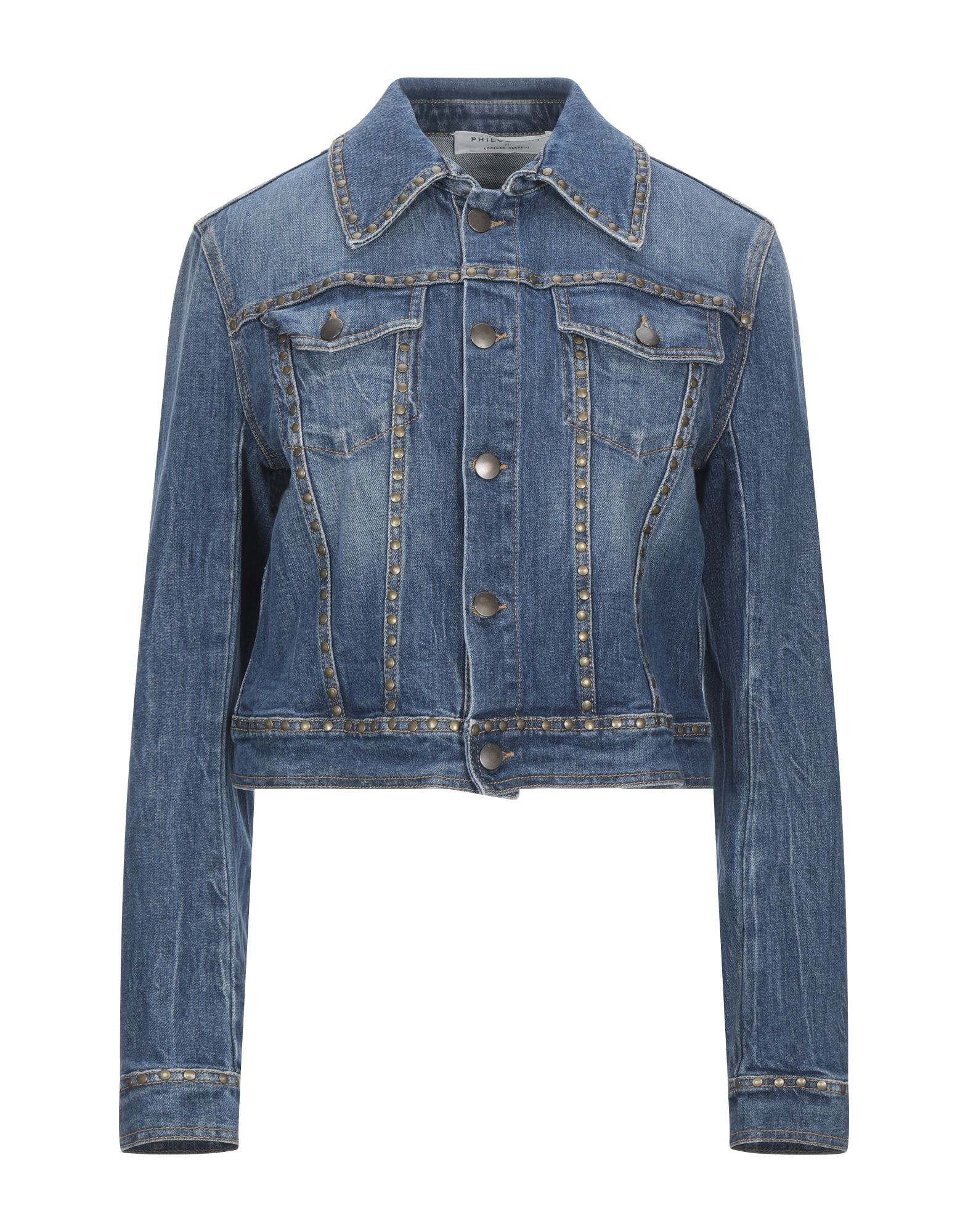 PHILOSOPHY di LORENZO SERAFINI Denim outerwear. denim, contrasting applications, studs, lamé, solid color, medium wash, long sleeves, classic neckline, buttoned cuffs, single-breasted, front closure, button closing, multipockets, stretch. 98% Cotton, 2% Elastane