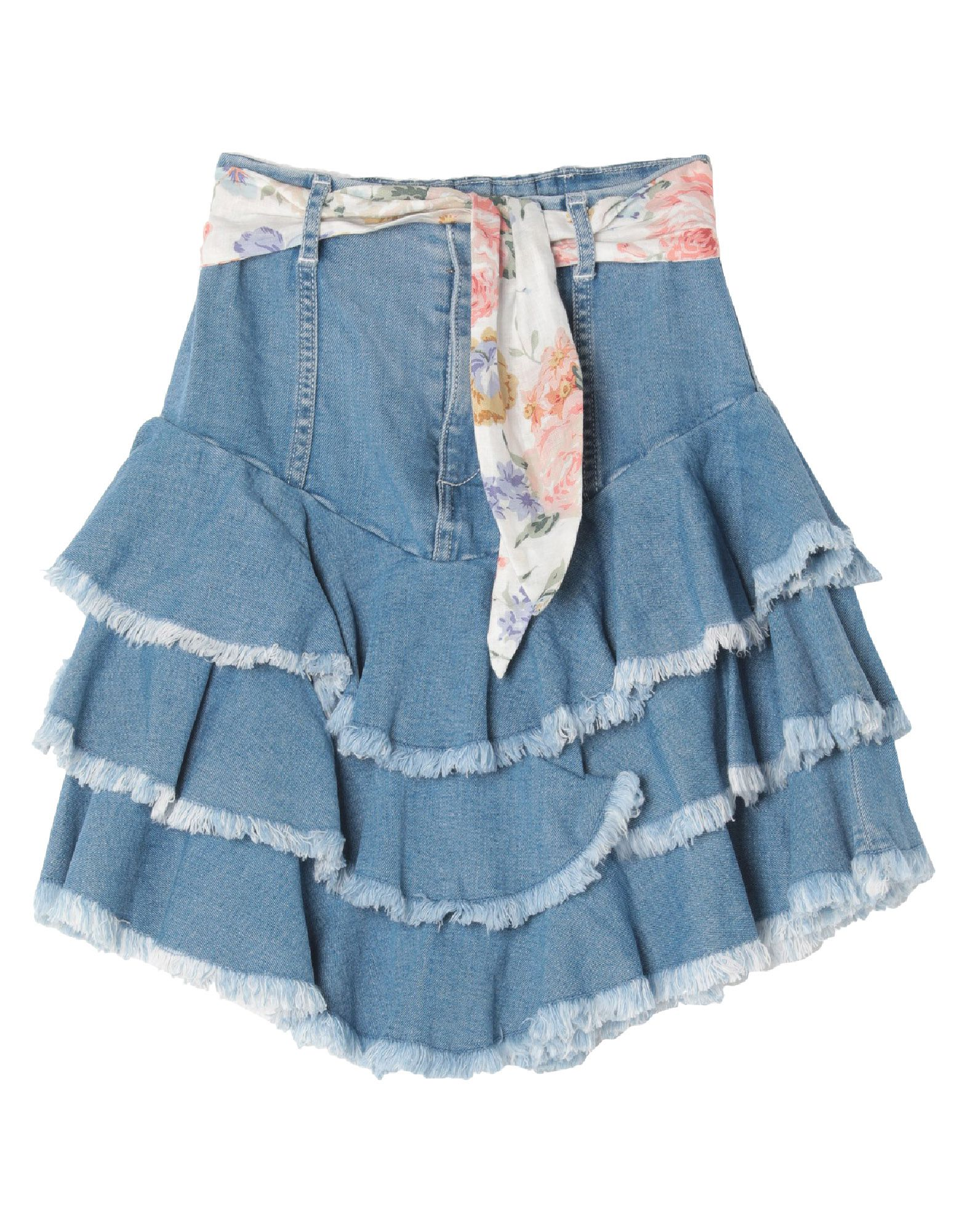 ZIMMERMANN Denim skirts. denim, belt, ruffles, solid color, medium wash, front closure, zipper closure, no pockets, stretch. 98% Cotton, 2% Elastane, Linen