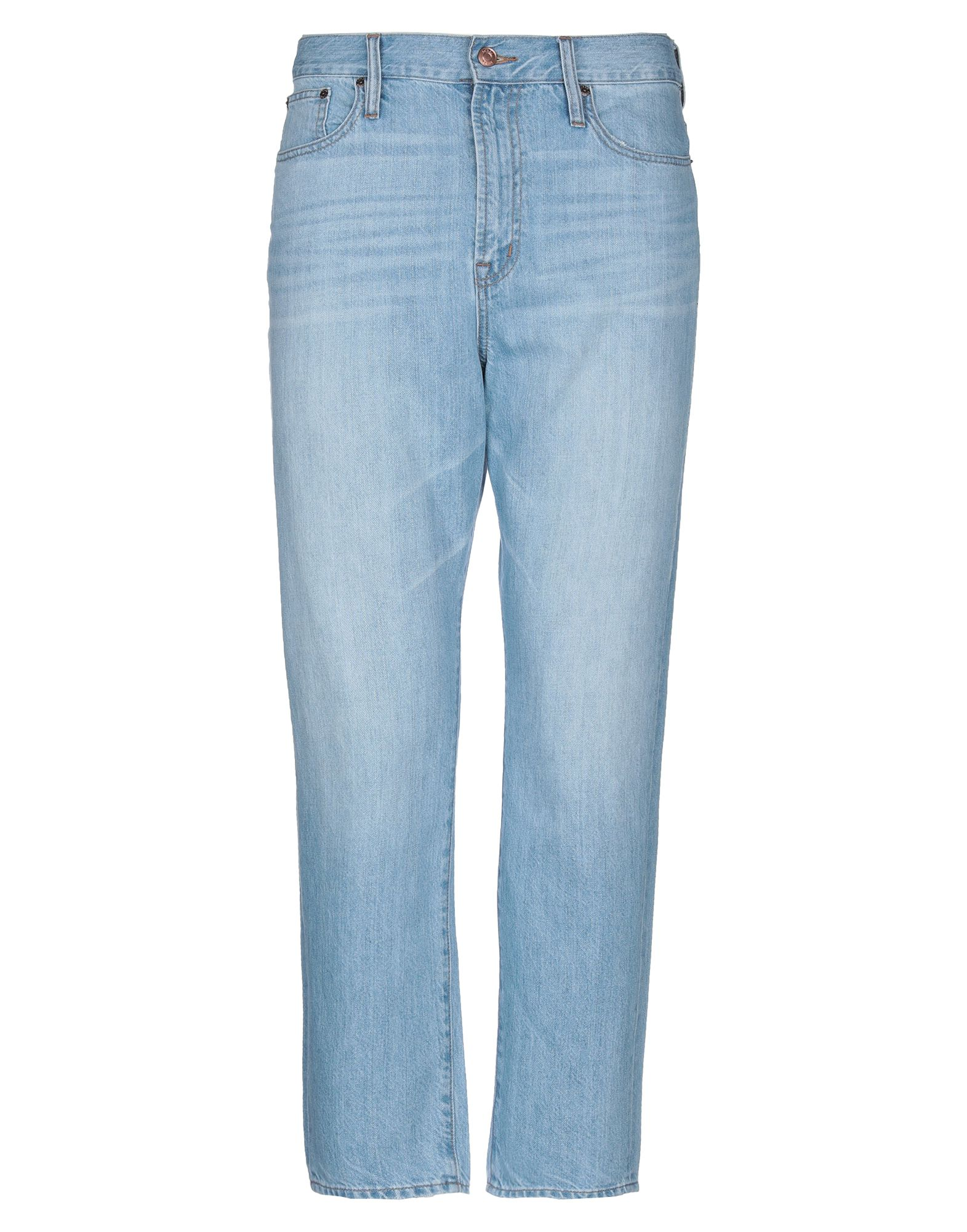 J.CREW Jeans. denim, faded, logo, light wash, high waisted, front closure, button, zip, multipockets, contains non-textile parts of animal origin, solid color. 100% Cotton