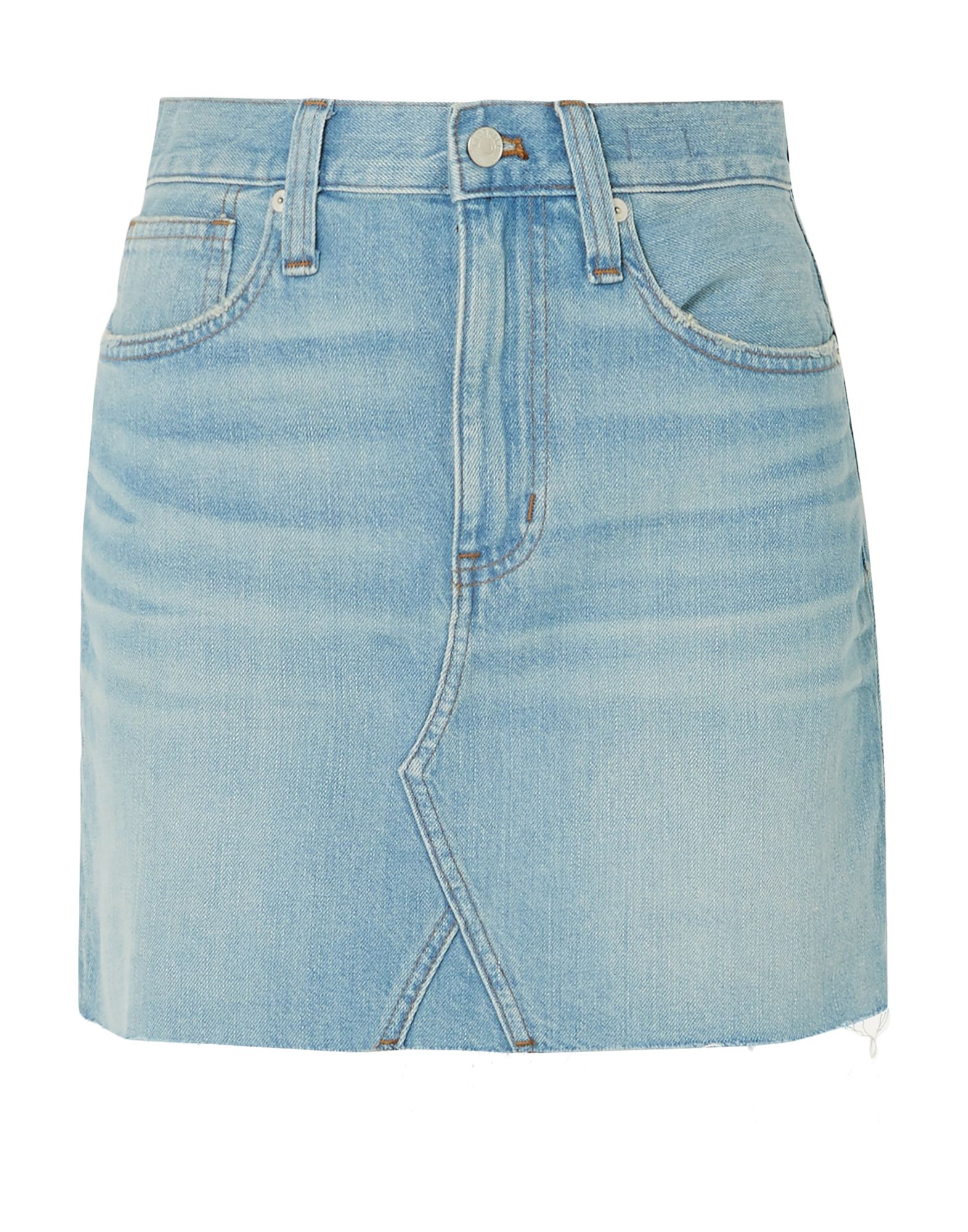 MADEWELL Denim skirts. denim, no appliqués, solid color, light wash, multipockets, button, zip, front closure. 100% Cotton