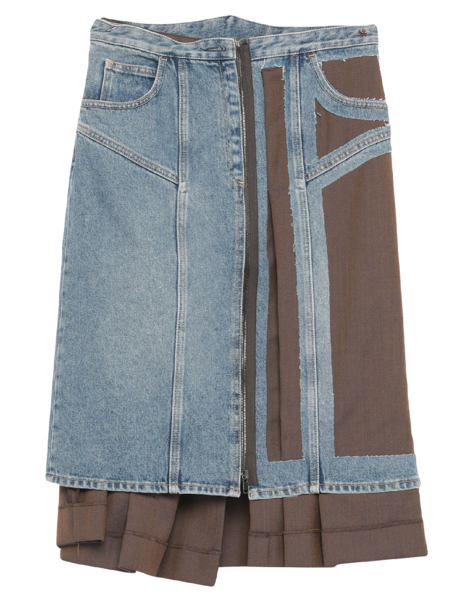 MAISON MARGIELA Denim skirts. cool wool, denim, faded, no appliqués, two-tone, medium wash, front closure, zipper closure, pleated, no pockets, fully lined, large sized. 70% Wool, 30% Mohair wool, Cotton