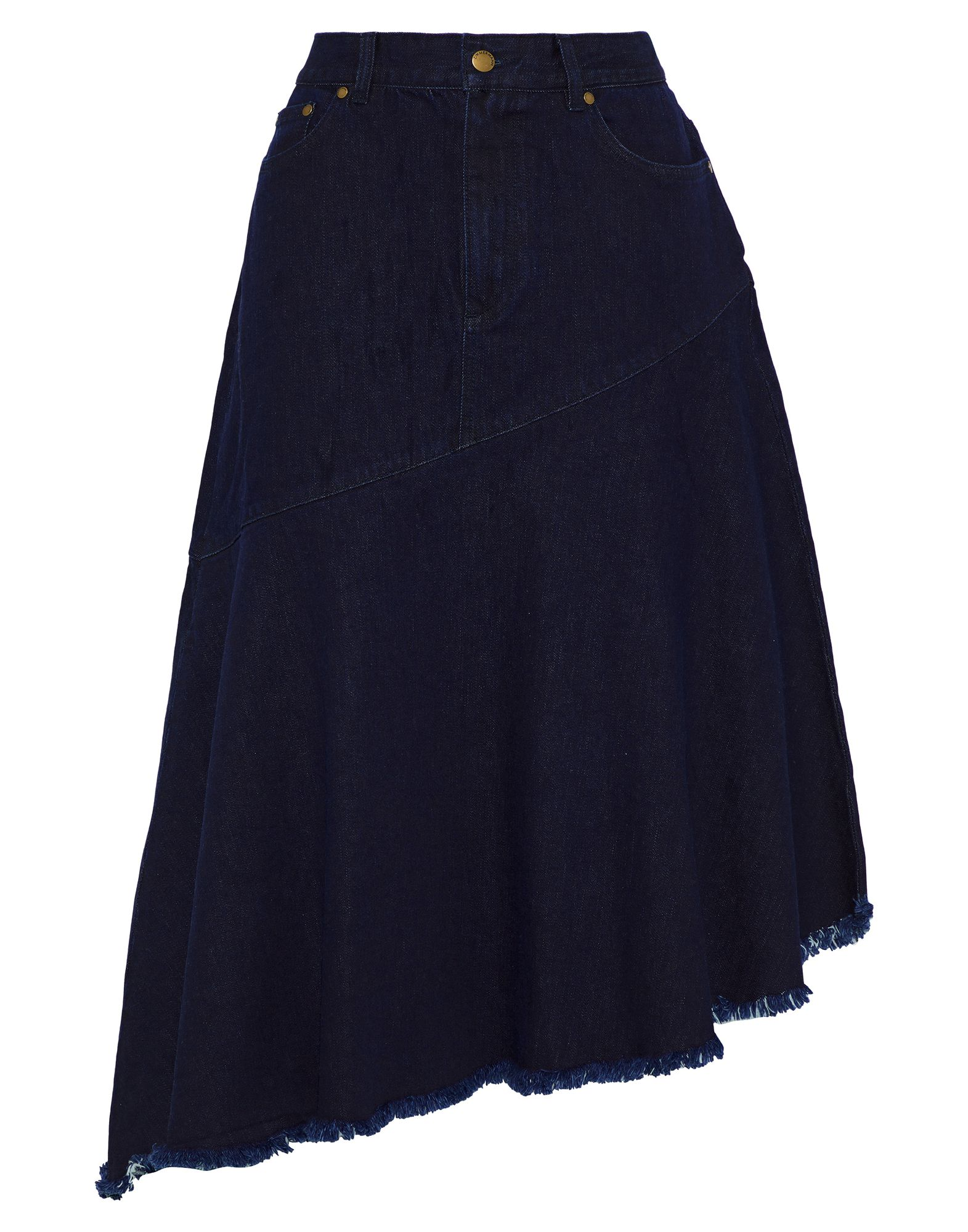 ZIMMERMANN Denim skirts. denim, logo, leather applications, solid color, medium wash, front closure, button, zip, multipockets, unlined, stretch, contains non-textile parts of animal origin. 98% Cotton, 2% Elastane