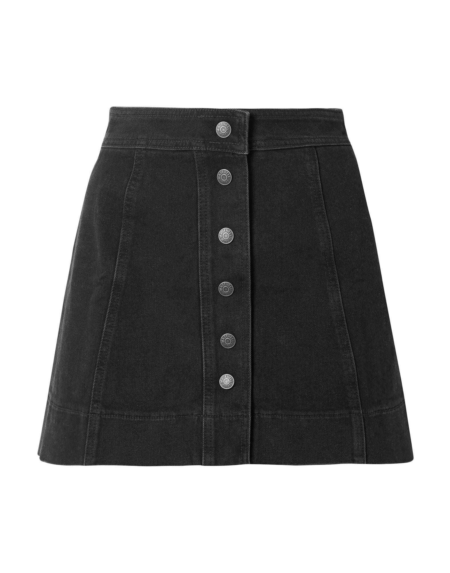 MADEWELL Denim skirts. denim, no appliqués, basic solid color, colored wash, front closure, snap buttons fastening, no pockets, stretch. 98% Cotton, 2% Elastane