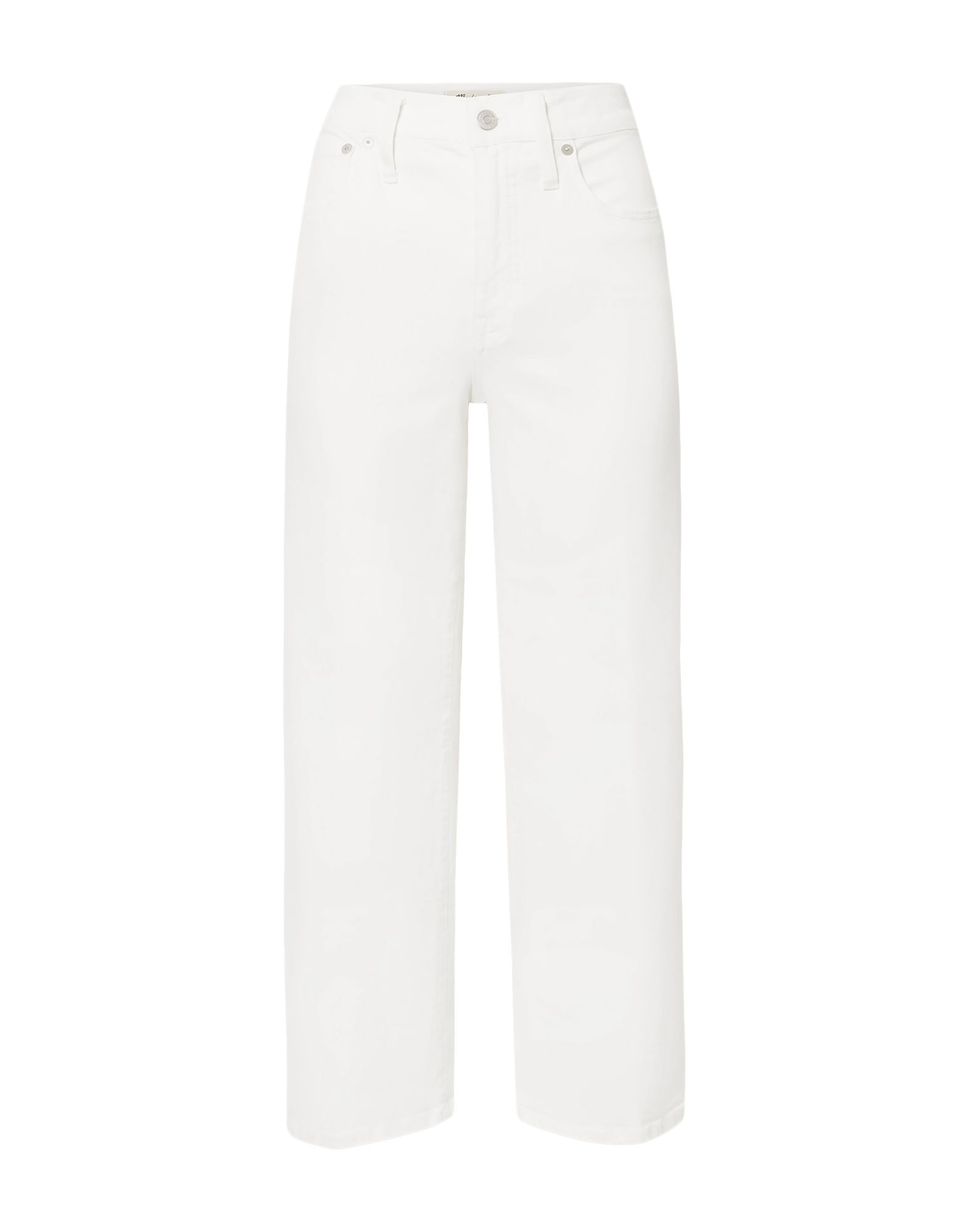 MADEWELL Jeans. denim, no appliqués, solid color, colored wash, front closure, button, zip, multipockets, high waisted, stretch. 98% Cotton, 2% Elastane