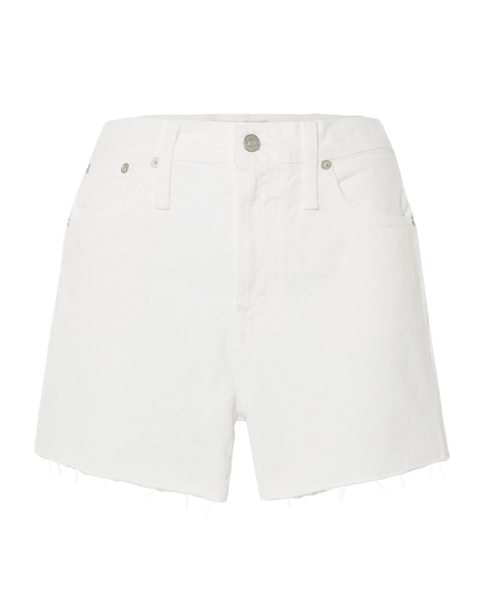 MADEWELL Denim shorts. denim, no appliqués, basic solid color, colored wash, high waisted, front closure, button, zip, multipockets, raw-cut hem. 100% Cotton