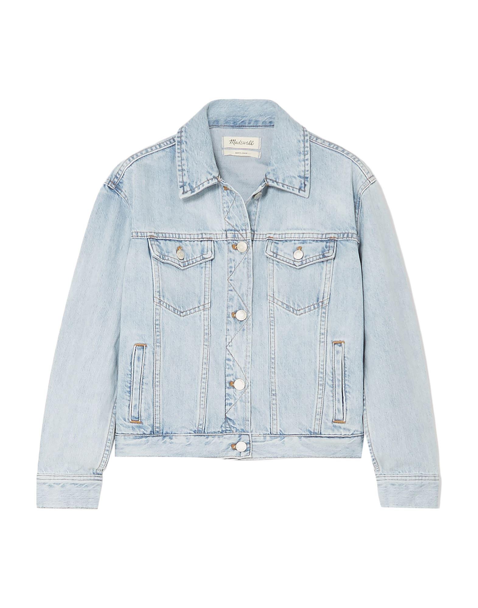 MADEWELL Denim outerwear. denim, no appliqués, solid color, medium wash, long sleeves, classic neckline, single-breasted, front closure, button closing, multipockets, unlined. 100% Cotton