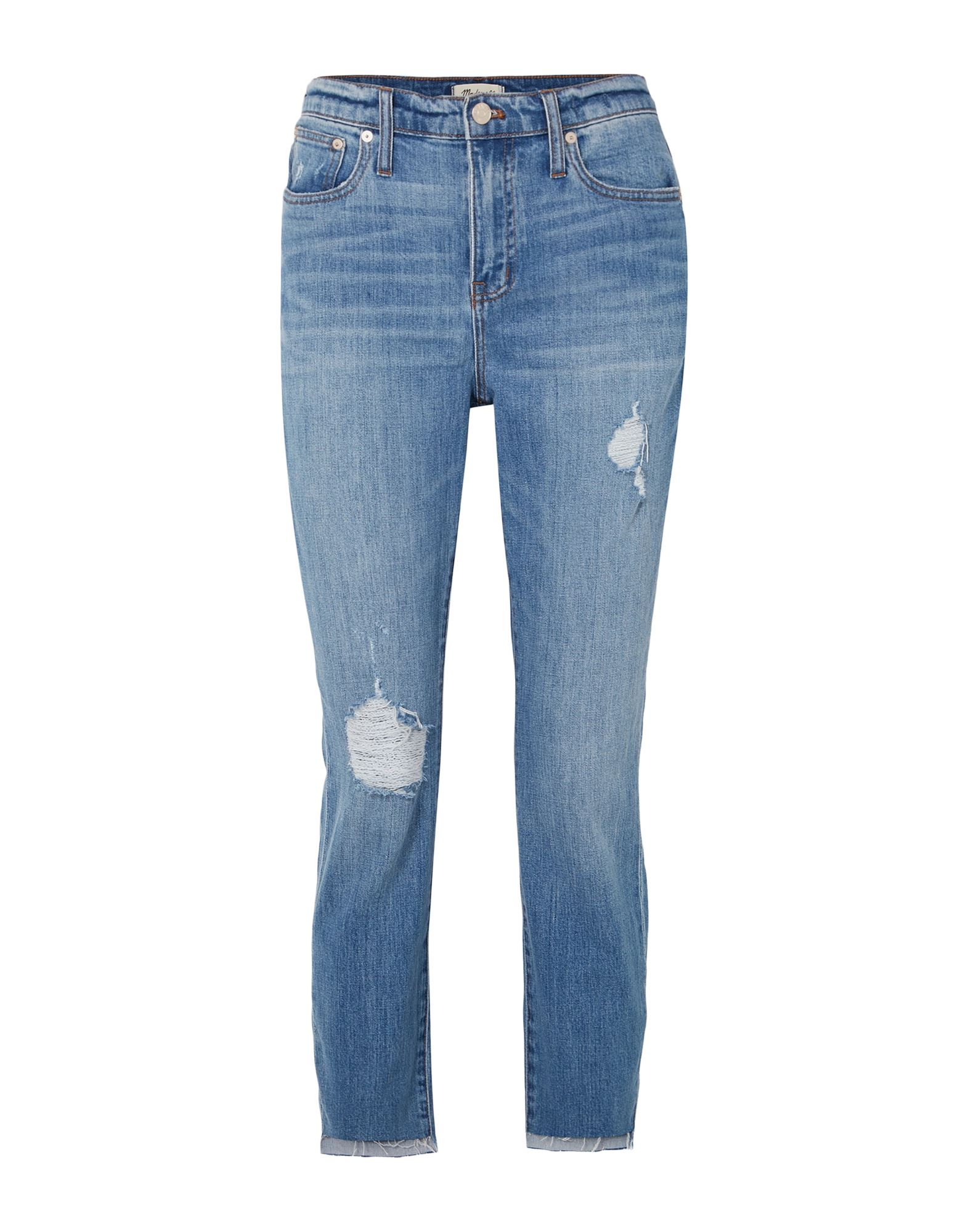 MADEWELL Jeans. denim, logo, torn fabric, faded, solid color, medium wash, high waisted, front closure, button, zip, multipockets, stretch. 98% Cotton, 2% Elastane