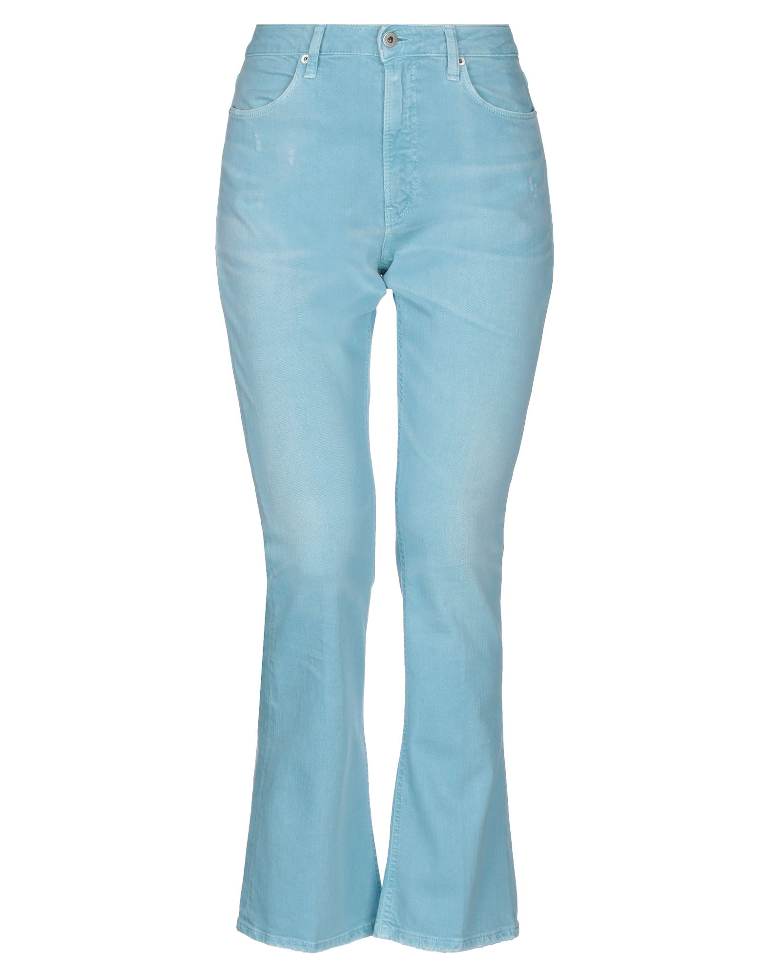 DONDUP Jeans. denim, worn effect, logo, solid color, colored wash, mid rise, front closure, button, zip, multipockets, stretch, model: mandy. 98% Cotton, 2% Elastane