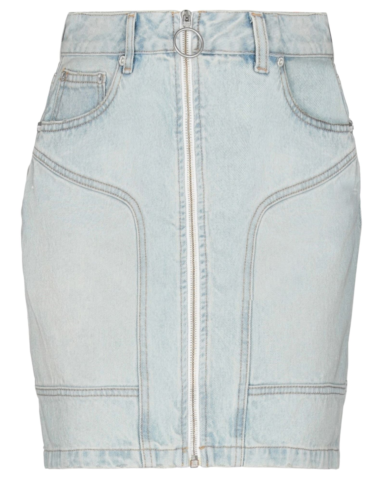 OFF-WHITE™ Denim skirts. denim, logo, solid color, light wash, belt loops, front closure, zipper closure, multipockets, unlined. 100% Cotton