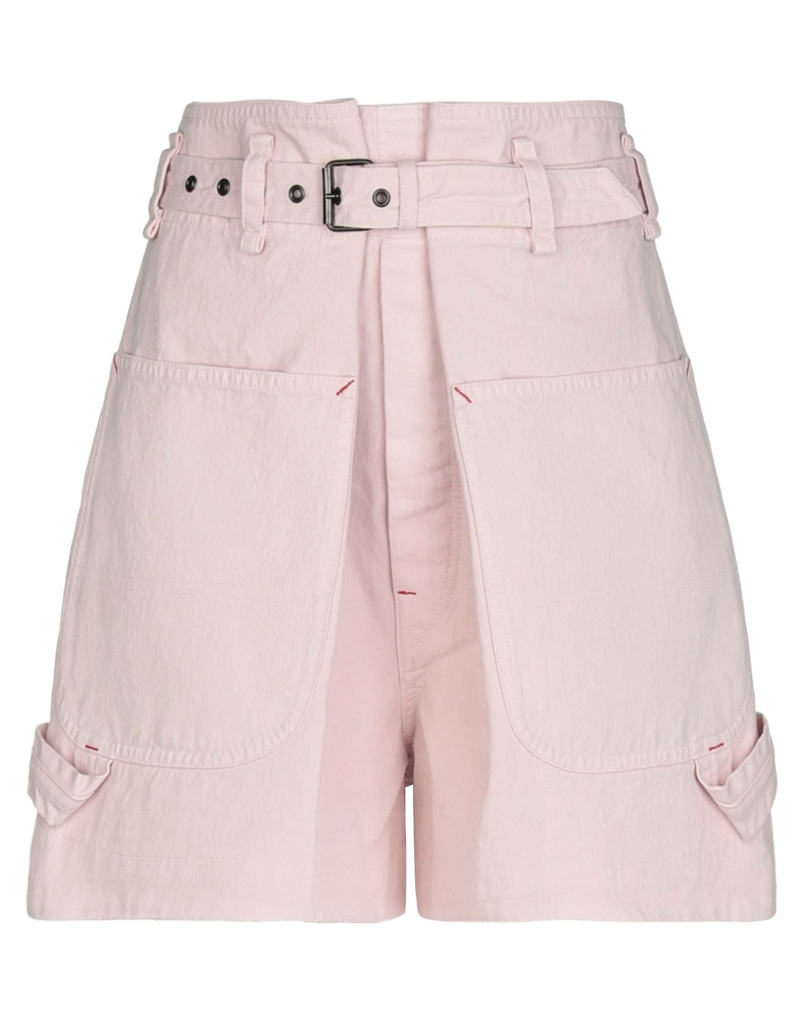 ISABEL MARANT Denim shorts. denim, belt, solid color, colored wash, high waisted, front closure, button closing, multipockets. 100% Cotton