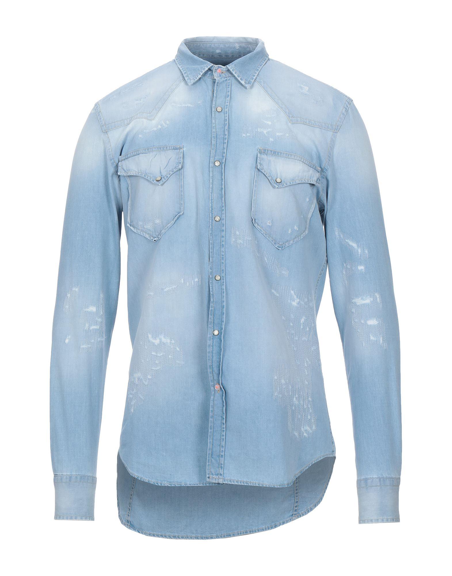 《セール開催中》PMDS PREMIUM MOOD DENIM SUPERIOR メンズ デニムシャツ ブルー M コットン 100%
