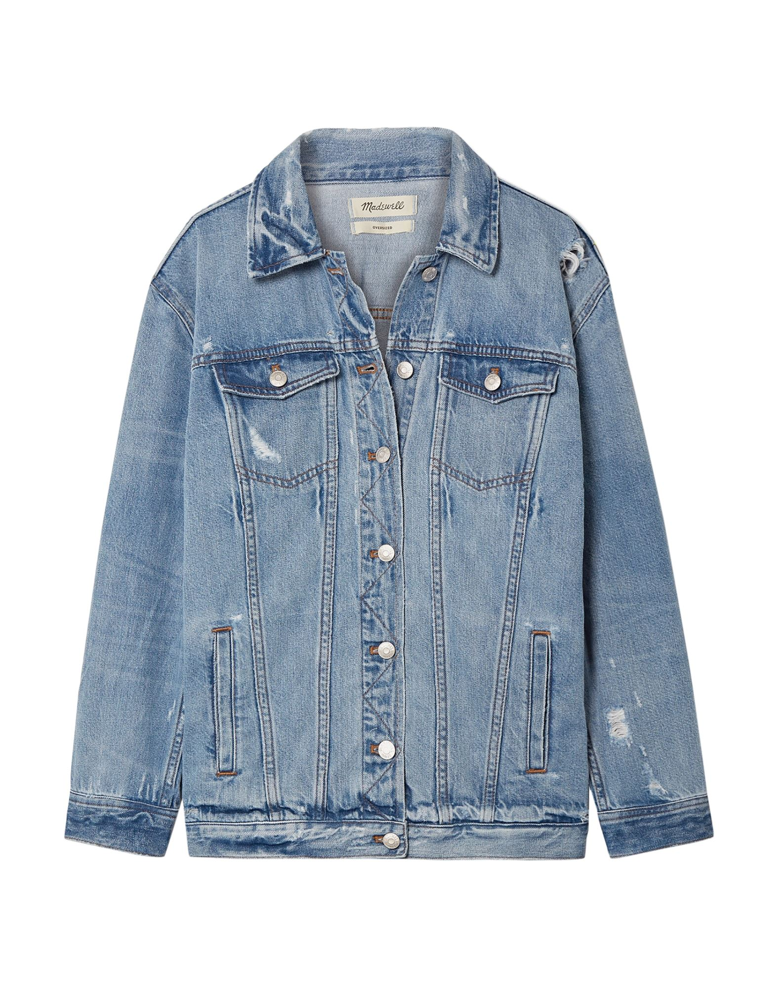 MADEWELL Denim outerwear. denim, worn effect, faded, no appliqués, solid color, medium wash, long sleeves, classic neckline, single-breasted, front closure, button closing, multipockets, unlined. 100% Cotton