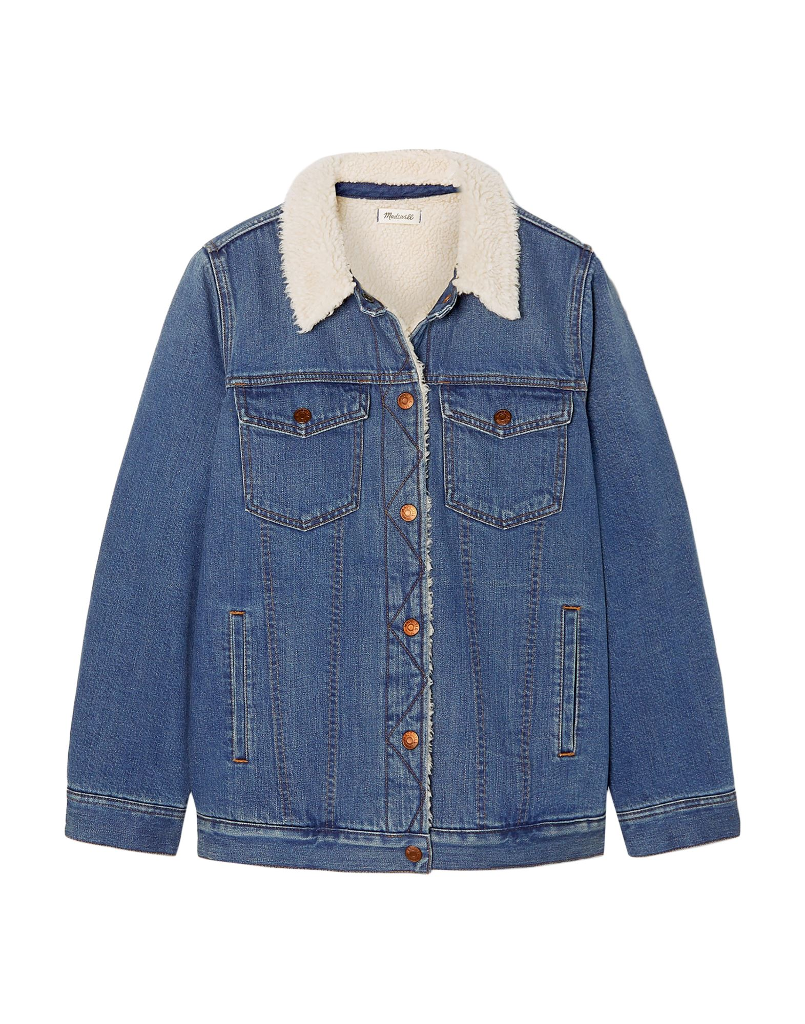 MADEWELL Denim outerwear. denim, no appliqués, basic solid color, medium wash, long sleeves, classic neckline, single-breasted, snap button cuffs, front closure, snap buttons fastening, multipockets, faux fur inner. 100% Cotton