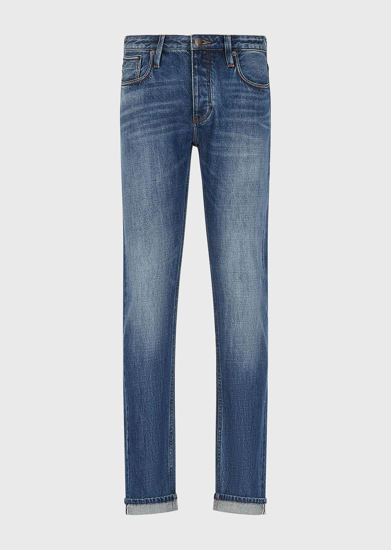 EMPORIO ARMANI J75 Slim-fit, medium-blue selvedge denim jeans