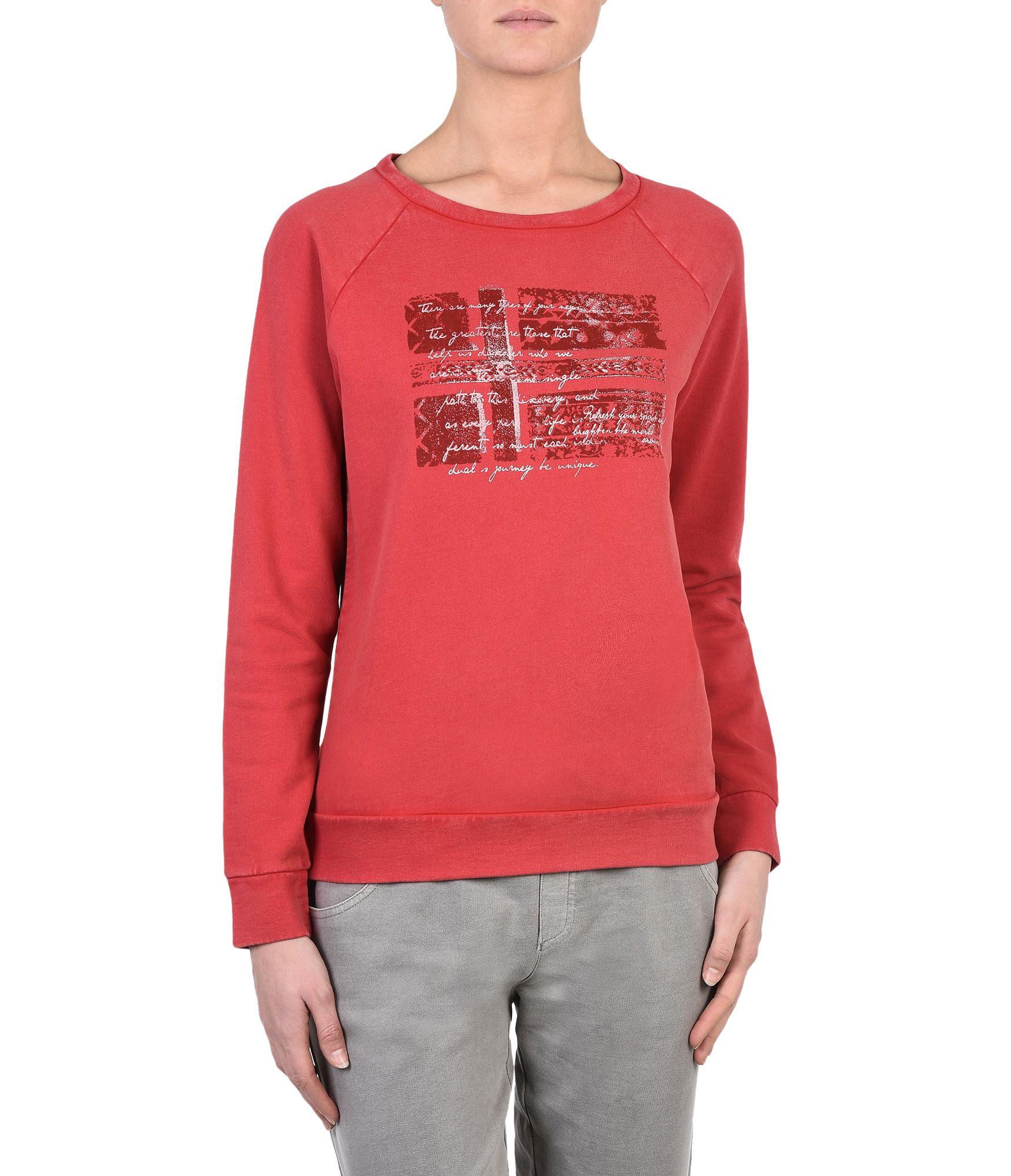 Artikel klicken und genauer betrachten! - Pullover-Sweatshirt mit Rundhalsausschnitt Vintage-Effektbehandlung Raglanärmel Halblanger Rückenreißverschluss Grafikelemente | im Online Shop kaufen