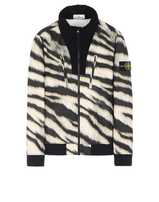 STONE ISLAND Zip sweatshirt 652E3 WHITE TIGER CAMO