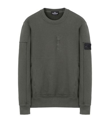 60107 DROP POCKET CREWNECK (DIAGONAL WEAVE FELPA) GARMENT DYED