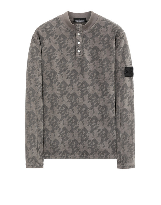 Sweatshirt 60409 LS MOCK NECK (PRINTED JERSINHO) PANAMA WEAVED COTTON CHENILLE ENPHATIZING PRINT - GARMENT DYED STONE ISLAND SHADOW PROJECT - 0