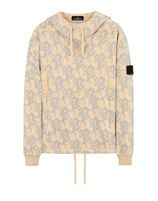 STONE ISLAND SHADOW PROJECT Sweatshirt 60309 FLANK POCKET ANORAK (PRINTED JERSINHO) PANAMA WEAVED COTTON CHENILLE WITH ENPHATIZING PRINT - GARMENT DYED