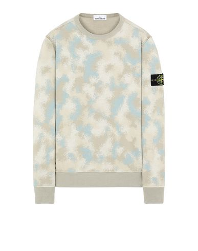 STONE ISLAND 605E5 CAMO DÉVORÉ Sweatshirt Man Dove Grey EUR 263