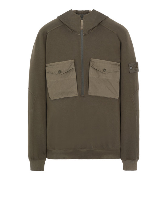 STONE ISLAND 636F3 GHOST PIECE Zip sweatshirt Man Military Green