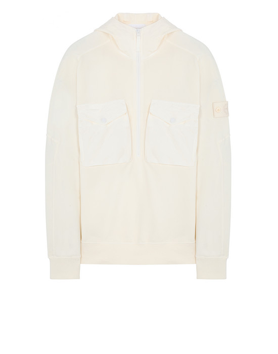 STONE ISLAND 636F3 GHOST PIECE Zip sweatshirt Man Natural White