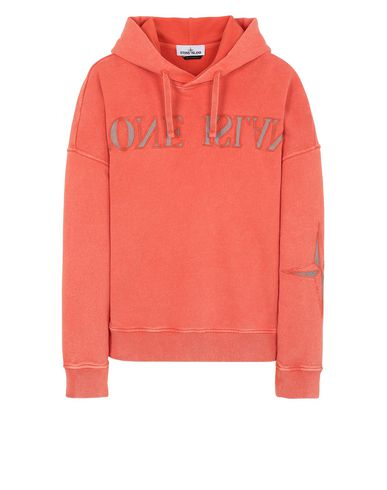 STONE ISLAND 66154 FLECK TREATMENT  Sweatshirt Man Lobster Red EUR 370