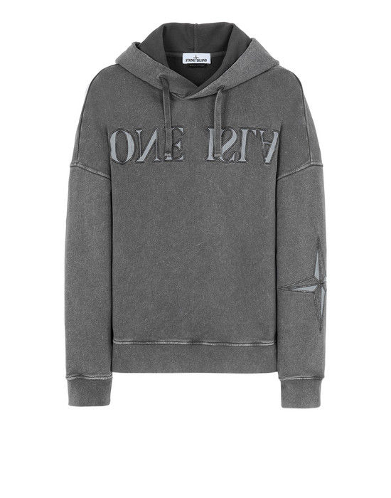 STONE ISLAND 66154 FLECK TREATMENT Sweatshirt Man Blue Grey