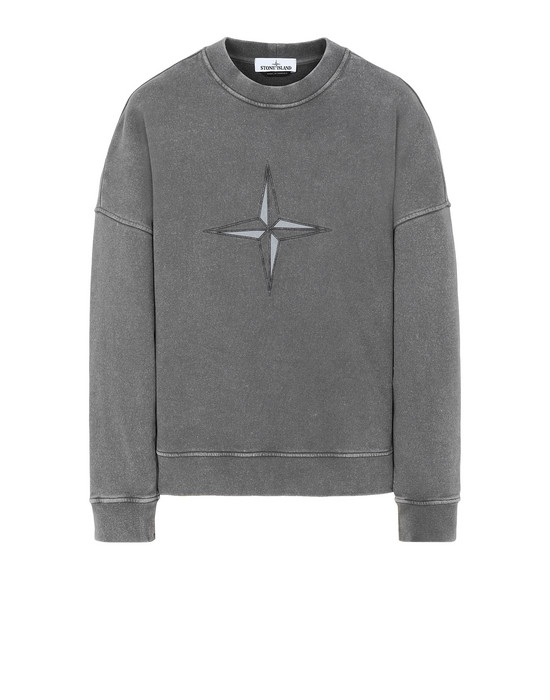 STONE ISLAND 66254 FLECK TREATMENT Sweatshirt Man Blue Grey