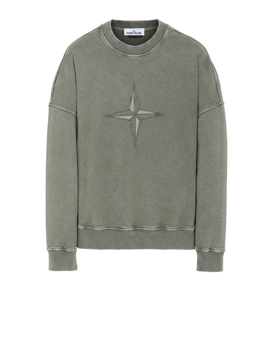 STONE ISLAND 66254 FLECK TREATMENT Sweatshirt Man Olive Green