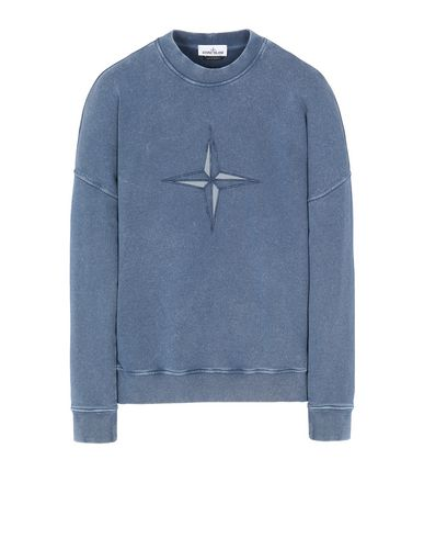 STONE ISLAND 66254 FLECK TREATMENT Sweatshirt Herr Marineblau EUR 230