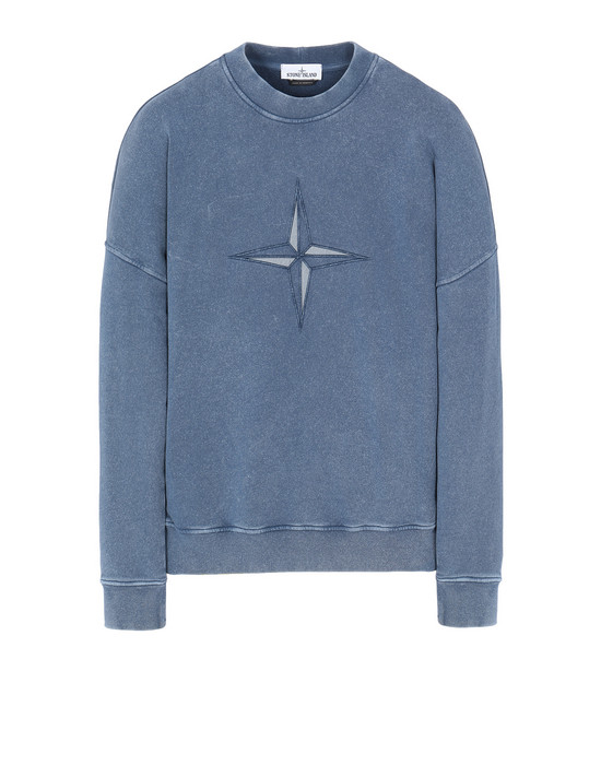 STONE ISLAND 66254 FLECK TREATMENT Sweatshirt Man Marine Blue