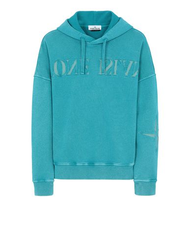 STONE ISLAND 66154 FLECK TREATMENT Sweatshirt Man Turquoise EUR 235