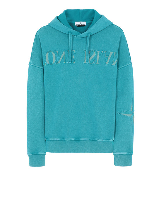 STONE ISLAND 66154 FLECK TREATMENT Sweatshirt Man Turquoise