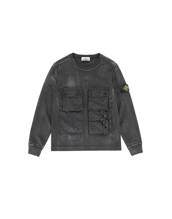 STONE ISLAND JUNIOR 62245 BRUSH TREATMENT 스웻셔츠 남성 블랙