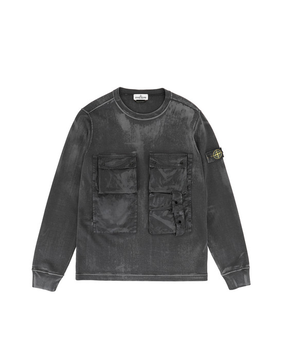 STONE ISLAND JUNIOR 62245 BRUSH TREATMENT Felpa Uomo Nero