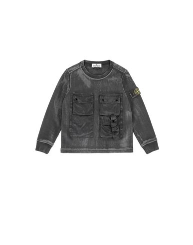 STONE ISLAND KIDS 62245 BRUSH TREATMENT Sweatshirt Herr Schwarz EUR 181