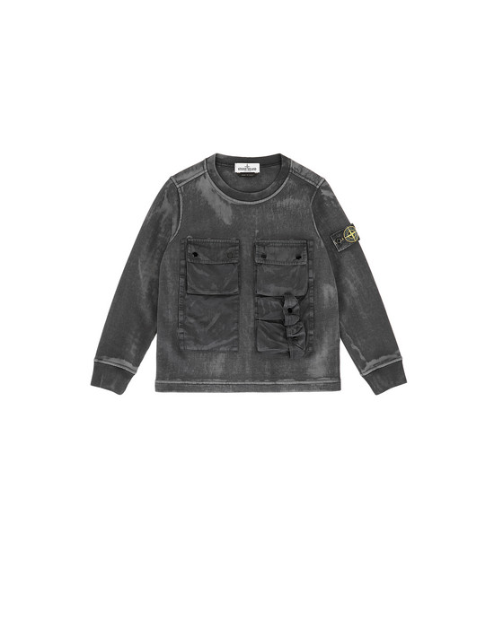 STONE ISLAND KIDS 62245 BRUSH TREATMENT 卫衣 男士 黑色