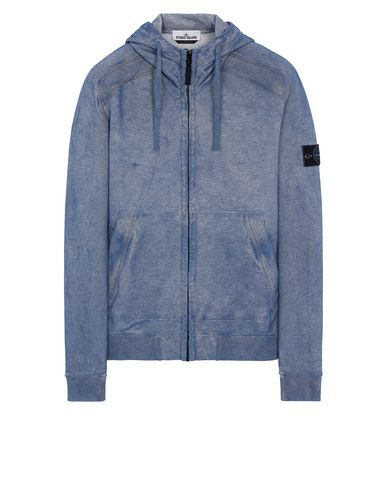 STONE ISLAND 62190 DUST COLOUR TREATMENT Sweatshirt Man Periwinkle Melange EUR 329