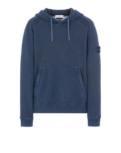 STONE ISLAND 62090 DUST COLOUR TREATMENT Sweatshirt Man Dark Periwinkle Melange EUR 299