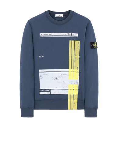 STONE ISLAND 63095 'BLOCK SWEATSHIRT'  Sweatshirt Man Avio Blue EUR 244