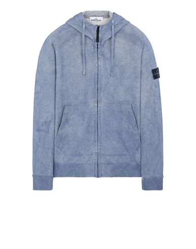 STONE ISLAND 62190 DUST COLOUR TREATMENT Sweatshirt Man Avio Blue MELANGE EUR 339