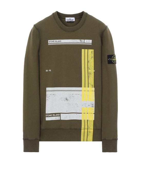 STONE ISLAND 63095 'BLOCK SWEATSHIRT'  Sweatshirt Man Olive Green
