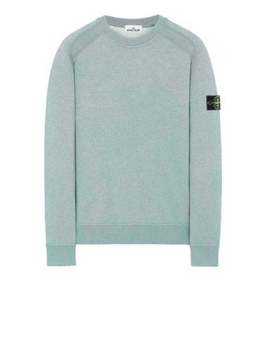 STONE ISLAND 62290 DUST COLOUR TREATMENT Sweatshirt Man AQUA MELANGE EUR 259
