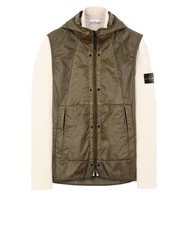 STONE ISLAND 63352 COTTON FLEECE + MUSSOLA GOMMATA CANVAS  卫衣 男士 象牙色 EUR 824