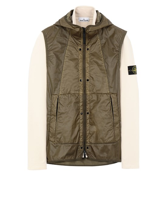 STONE ISLAND 63352 COTTON FLEECE + MUSSOLA GOMMATA CANVAS  스웻셔츠 남성 아이보리
