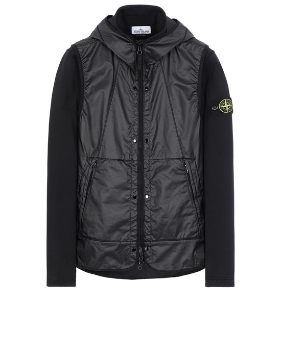 STONE ISLAND 63352 COTTON FLEECE + MUSSOLA GOMMATA CANVAS  Sweatshirt Man Black